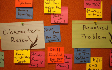 A corkboard covered in index cards showing story beats for a TV series.