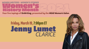 A photo of CLARICE showrunner Jenny Lumet next to text promoting a live-taped interview with her for OnWriting in honor of women's history month.